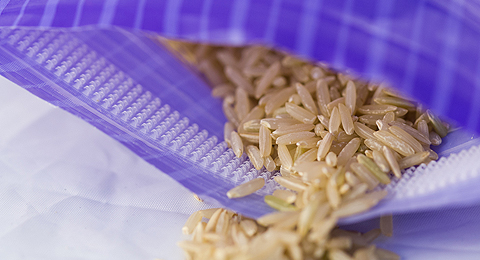 Lundberg Rice bag featuring Press-lok™ Closure